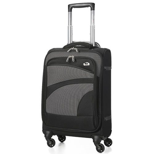 Ryanmax & Aer Lingus 55x35x20cm 4 Wheel Flexible Cabin Bag 1.8Kg Black Grey Trim