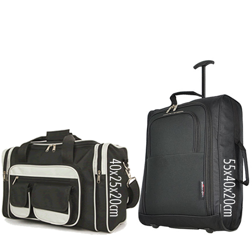Priority Set 55x40x20cm & 40x25x20cm Black Black 7 Pockets