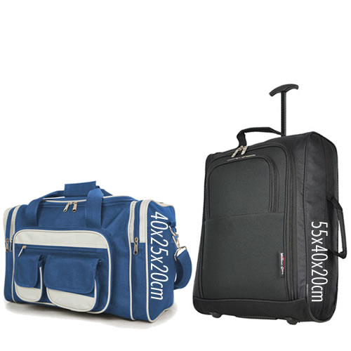 Priority Set 55x40x20cm & 40x25x20cm Black Blue 7 Pockets