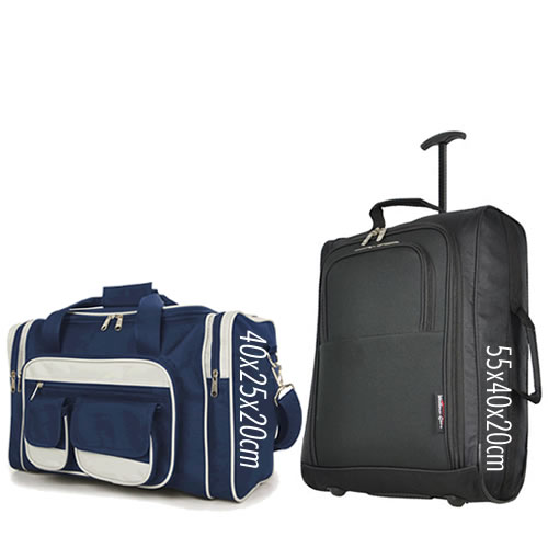 Priority Set 55x40x20cm & 40x25x20cm Black Navy 7 Pockets