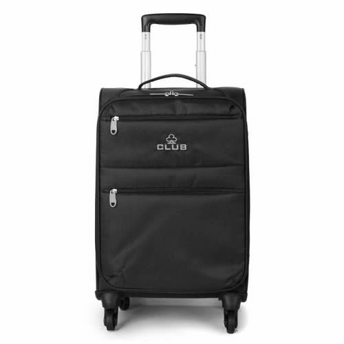 Ryanmax 55x35x20cm Flybe Overhead Cabin Bag 4 Wheels 1.8Kg Club Plain Black