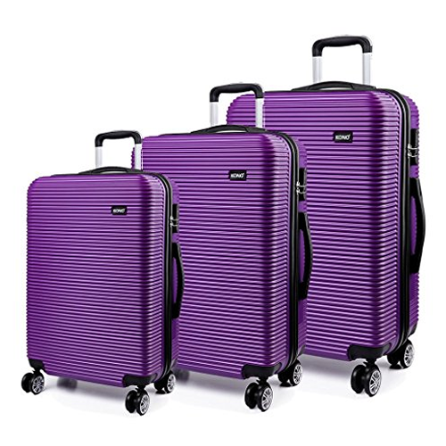 Kono Ivory Purple 3 Piece Luggage Set Hardshell ABS