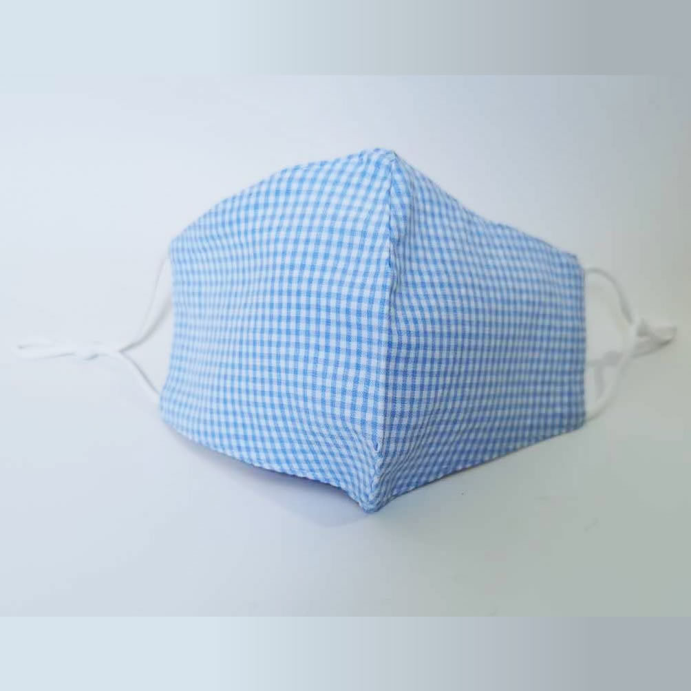 Gingham Fashion Face Mask Blue 3 Piece Hygiene Pack 76