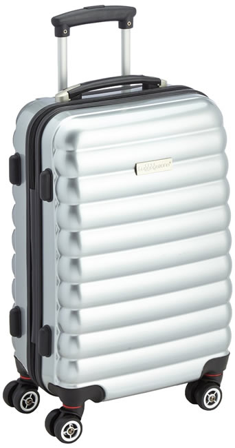 Luggage Zone Ribbed Hard Shell Silver Tone