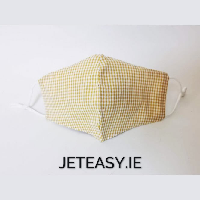 Yellow Gingham Face Covering Mask 3 Piece Hygiene Pack 35