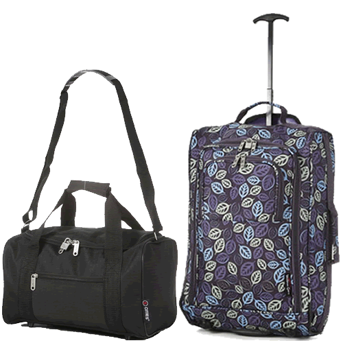 Travelmax Ryanair 2 CabinBag Set Purple Leaf
